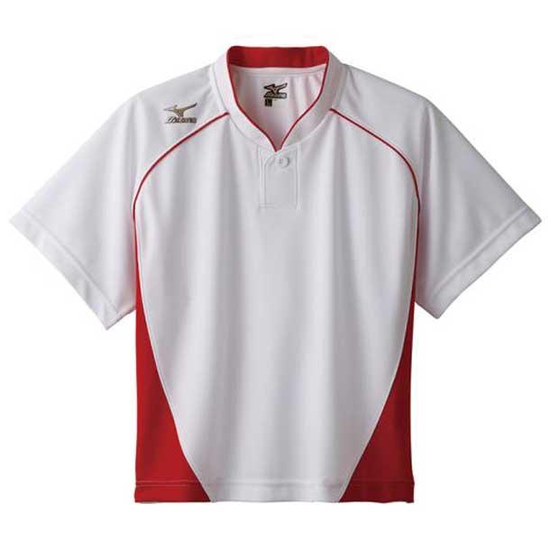 グローバルエリート ベースボールシャツ/ハーフボタン/小衿 レディース 62ホワイト×レッド MIZUNO ミズノ 野球 ウエア ユニフォームシャツ 12JC6L70 12jc6l7062 野球ウエア