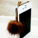 ★ SALE ★, fur jewelry» fluffy リアルミンク fur (fur) rhinestone earphone Jack (iPhone & スマホピアス) fs3gm? s non-cod.