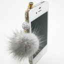 ★ SALE ★, fur jewelry» fluffy リアルミンク fur (fur) Swarovski ski ball earphone Jack (iPhone & スマホピアス) fs3gm? s non-cod.