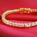 4 Carat CZ diamond ( cubic zirconia ) gold tennis bracelet fs3gm.