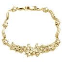 Gorgeous flower (flowers) ( cubic zirconia ) CZ diamond Gold Bracelet