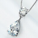 3 Carat Teardrop CZ diamond silver necklace fs3gm.