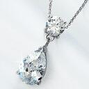 3 Carat Teardrop CZ diamond silver necklace fs3gm.