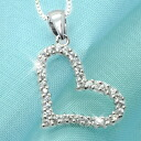 2 Carat's elegant open heart CZ diamonds ( cubic zirconia ) silver necklace fs3gm
