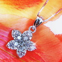 """From Hawaii."" プルメリアフラワー (flowers) CZ diamond ( cubic zirconia ) K14 white gold WG necklace 10P05July14"