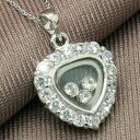 Spark ring heart CZ diamonds ( cubic zirconia ) silver necklace fs3gm