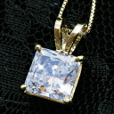 Princess CZ diamond ( cubic zirconia ) K14 yellow YG necklace fs3gm