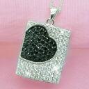Black パヴェオニキスハート CZ diamond silver necklace fs3gm