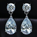 5-Carat Teardrop CZ diamond ( cubic zirconia ) Silver earrings (past 2 pieces) fs3gm