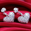 パヴェリトルフルハート CZ diamond ( cubic zirconia ) Silver Earring / earrings (past 2 pieces) fs3gm