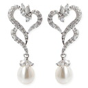 Heart & Pearl CZ diamond ( cubic zirconia ) Silver earrings (past 2 pieces) fs3gm