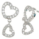 Droping a Double hearts CZ diamond Silver earrings (past 2 pieces) fs3gm