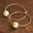★ SALE ★ all three sizes (8 mm/10 mm / 12 mm) grain Kiska cotton Pearl K14GF (gold filled) 30 mm hoop earrings 10P30Nov13