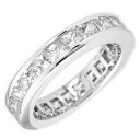 2.25 Carats Princess FL eternity CZ diamond ( cubic zirconia ) ( ring ) silver ring fs3gm