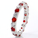3 mm FL eternity Ruby CZ diamond ( cubic zirconia ) ( ring ) silver ring fs3gm