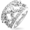 Elegant flower (flowers) ( cubic zirconia ) CZ diamond silver ring ( ring ) fs3gm