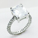 5-carat Emerald-Cut CZ diamond ( cubic zirconia ) ( ring ) silver ring 10P02Aug14
