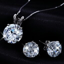 Popular CZ diamond set (large 2 ct K14 white gold necklace &1.5ct K14 white gold earrings (past 2)) fs3gm