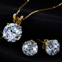 Popular CZ diamond set (large 2 ct K14 イエローゴールドネックレス &1.5ct K14 18kt yellow gold earrings (past 2)) fs3gm