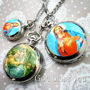 Necklace watch Ino cent art deco Chinese holly Jesus Virgin Mary design God bless you 2 for 5,000 yen