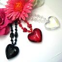 Necklace venetian glass-like nostalgic heart series LOVEHEART 2 for 5,000 yen