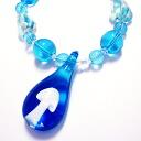 Necklace venetian glass style cool aqua blue mushrooms mushroom mushroom necklace 2 for 5,000 yen