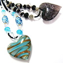 Necklace venetian glass style marble heart necklace blue-black びいどろ 2 for 5,000 yen