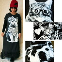 Long Dole one-piece tie cotton Cutie cat & dog lovely 4 デザインフリンジロングマキシスカート adult cute style