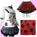 skirt Gothic Lolita costume play of pannier Tulle race skeleton pop dot みずたま red & ホワイトボリューミーゴスロリパンク Harajuku origin