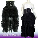 Long skirt Gothic Lolita vampire queen high waist race drape darkness bird cage witch lady