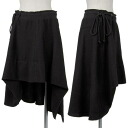 Wise Y's wool asymmetric skirt black 2