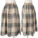 Wise Y's linen check Y doe est skirt beige gray L rank