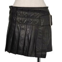 リミフゥ LIMIfeu pleats mini-winding leather skirt black S