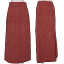 Issey Miyake heart ISSEY MIYAKE HaaT back fastener embroidery India cotton long skirt reddish brown 1
