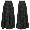 Honma HOMMA base design check flare long skirt gray black M
