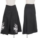 Trico come de garcons tricot COMME des GARCONS linen cotton embroidery design skirt black M