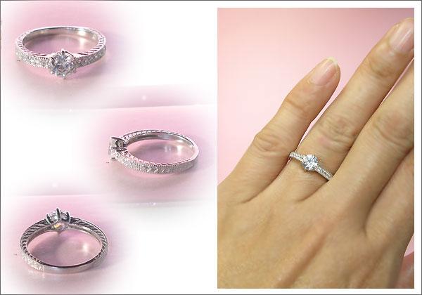 4月誕生石ダイヤモンドを一粒使用したアンティークデザインのプラチナ900製リングです。クリスマスプレゼントや誕生日プレゼント、婚約指輪(エンゲージリング)などにお勧め商品です。