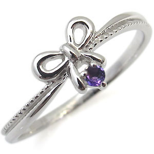 プラチナ 指輪 リボン 一粒 リング アメジスト リング