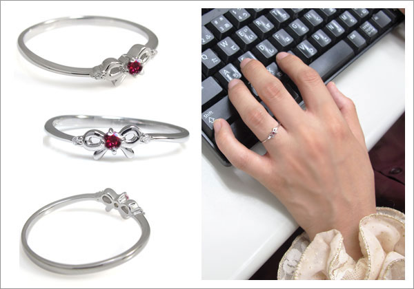 りぼん シンプル 指輪