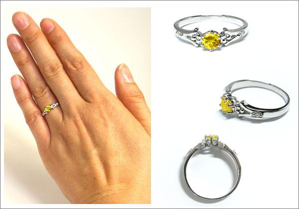 婚約指輪・スフェーン・リング・k18・エンゲージリング