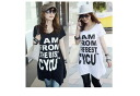 Asymmetrical design ☆ monotone chic logo printing T shirts ☆ elbow-length ☆ celeb casual ☆ mode system: order today will ship 3/16