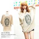 Logo of letters x Maria ★ Dolman type! 5-sleeve ★ Style-up effect loose Barzun ★ silet tunic