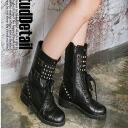 Clearance sale! I am going to ship it on order about September 10 engineer hardware system ★ studs casual long boots ★ black / Lady's / lock / laceup ◎ today