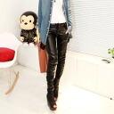 Cool black Manish ★ leather wind pants ★ PU, with skin, women's / bottom / black