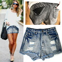 I OK both lock-style and a mode! I am going to ship it on order about April 18 studs design damage denim short pants ◎ today