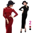 Shoulder slit pieces and Maxi-length dress and Turtleneck ◎ order today will ship 11/10