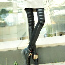 Different materials and faux leather toggle leggings / spats / Manish / mode / selenge ◎ order today will ship 1/30
