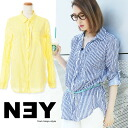 I am going to ship it on order about May 7 NEY ★ stripe bottle tit sleeve shirt tunic / neon color / roll-up sleeve ◎ today