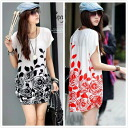 Clearance sale! I am going to ship it on order about September 16 rose print, short sleeves tunic one piece / tops ◎ today