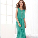 Maxi-length dress ★ graceful silhouette ☆ soft gathers and sleeveless ◎ order today will ship 4/23